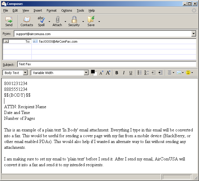 Sending the body of an Email as a Fax.